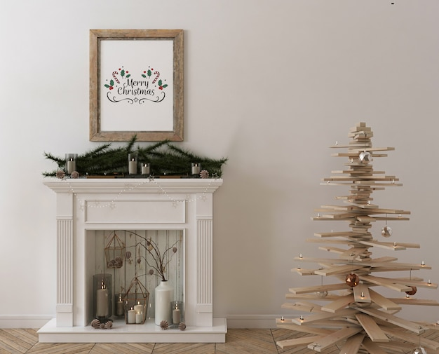 Poster frame mockup with wooden christmas  tree, decoration and presents