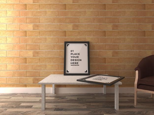 Poster frame realistic mock up interior