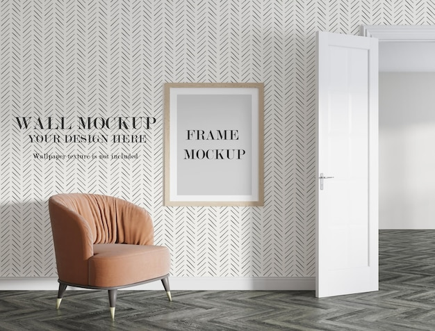 Poster frame and wall mockup design Premium Psd