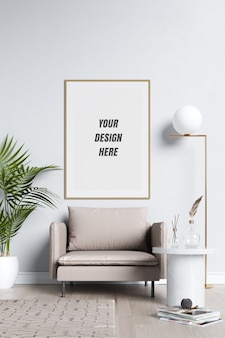 Poster frame and wall mockup with decoration