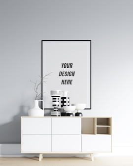 Poster frame & wall mockup with minimalist decoration
