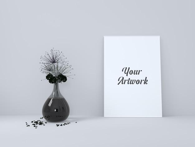 검은 꽃병 모형이있는 포스터 프레임