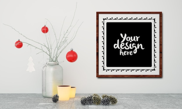 Poster frame with christmas decoration mockup