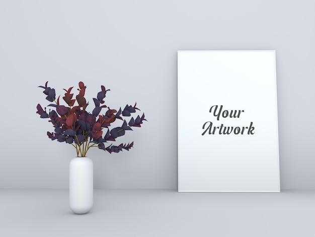 꽃병 모형이있는 포스터 프레임