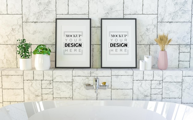 Poster frames in dining room mockup