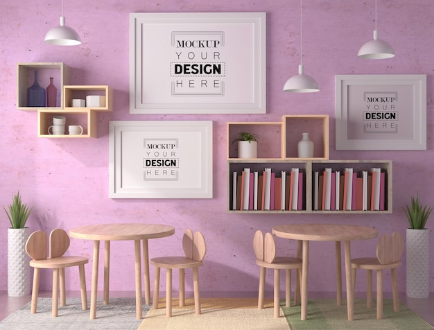 Рамки для плакатов в кафе mockup