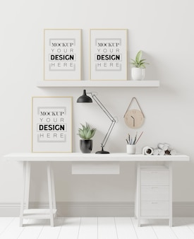 사무실 모형의 포스터 프레임
