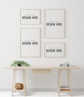 オフィスのモックアップのポスターフレーム