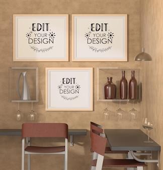 レストランモックアップのポスターフレーム