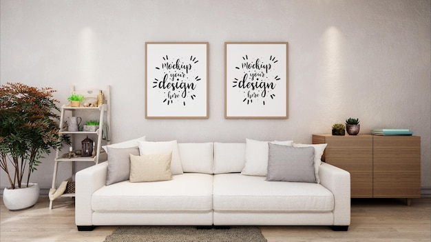 Poster frames in living room mockup