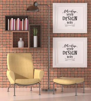 Cornici per poster in soggiorno mockup