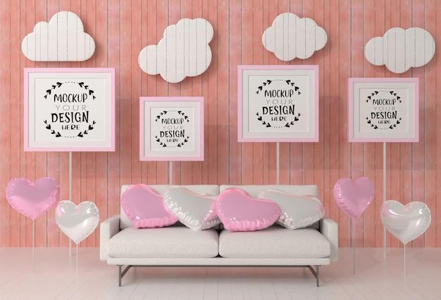 Poster frames in living room mockup