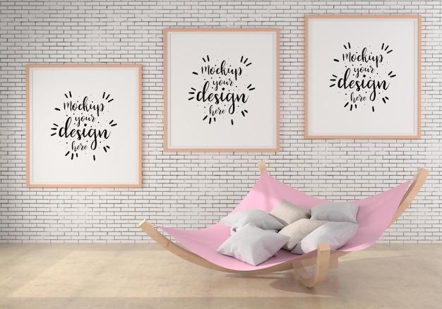 Poster frames in living room