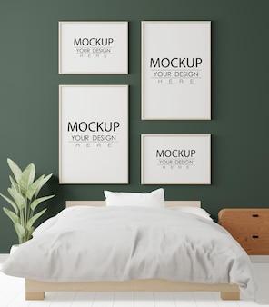 Poster frames mockup in a bedroom