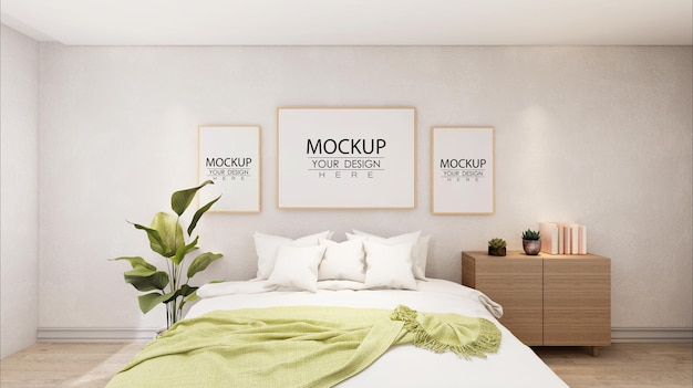 Poster frames mockup interior in a bedroom