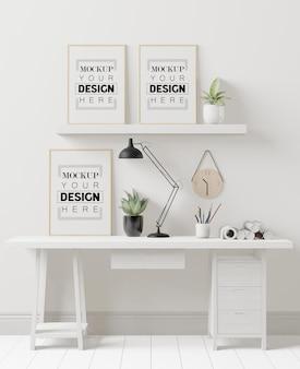 Poster frames in office mockup