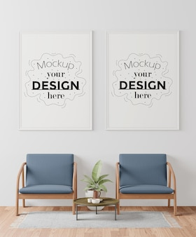 Poster frames in waiting room mockup