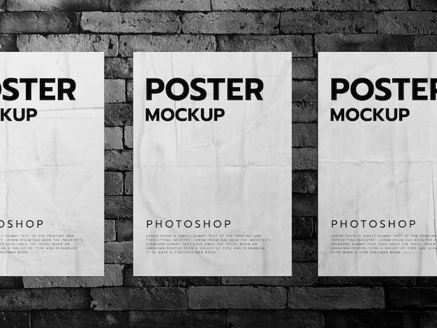 Постер грубдж на макете из черной кирпичной стены