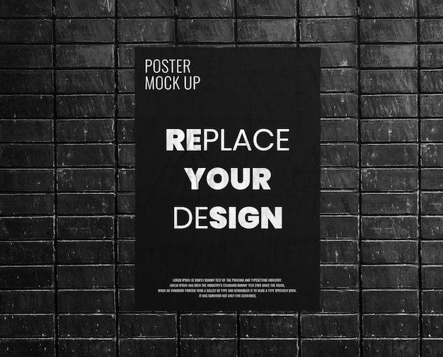 Poster grunge on black brick wall mockup