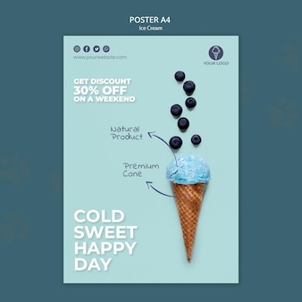 Шаблон магазина мороженого плакат