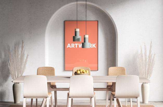 テーブルモックアップの前のポスター