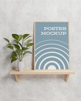 Poster inside photo frame mockup interior room