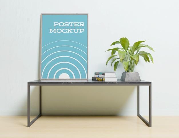 テーブルモックアップインテリアルームのフォトフレーム内のポスター