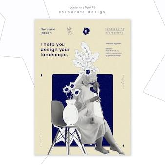 Профессиональный шаблон плаката ландшафтного дизайна