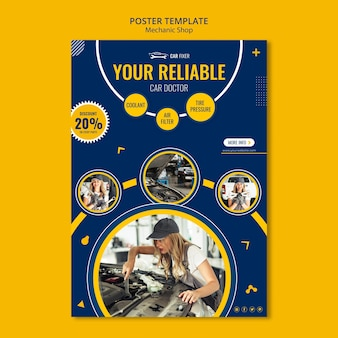 Poster mechanic shop ad template
