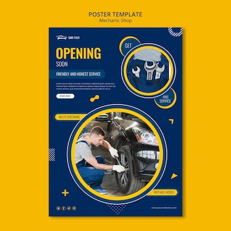 Poster mechanic shop template Free Psd