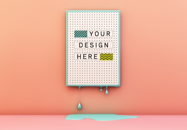 Poster on melting frame mockup