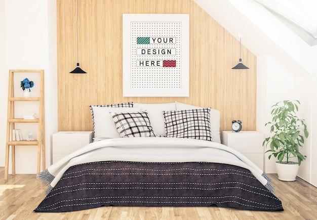 寝室でポスターのモックアップ