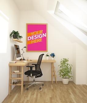 Poster mockup on attic wall of studio office