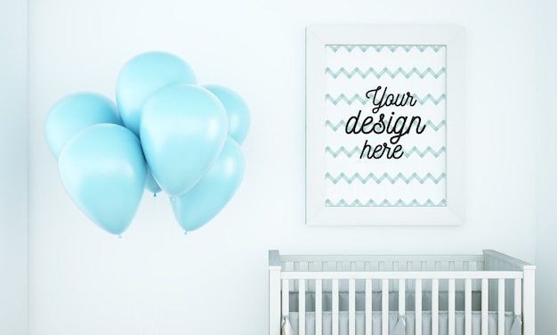 Poster mockup in baby room with balloons