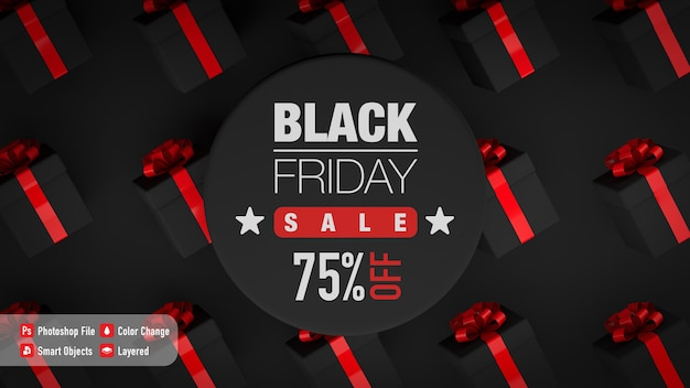 Poster mockup for black friday with some gift boxes