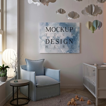 Poster mockup in cute interior of baby room