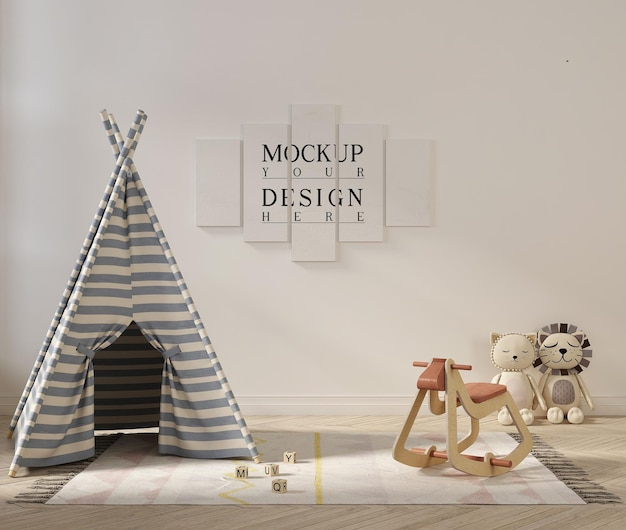 Poster mockup in cute playroom interior with tent