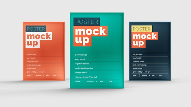 Poster mockup design isolated