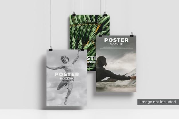 Рендеринг дизайна макета плаката у стены Premium Psd