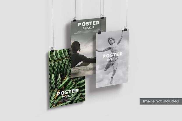 벽에 포스터 모형 디자인 렌더링