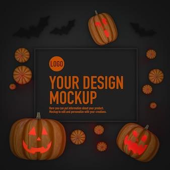 Макет плаката на хэллоуин рядом с тыквами и летучими мышами