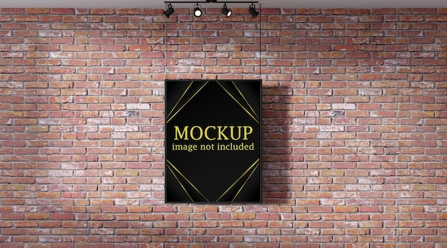 Poster mockup in front of brick wall