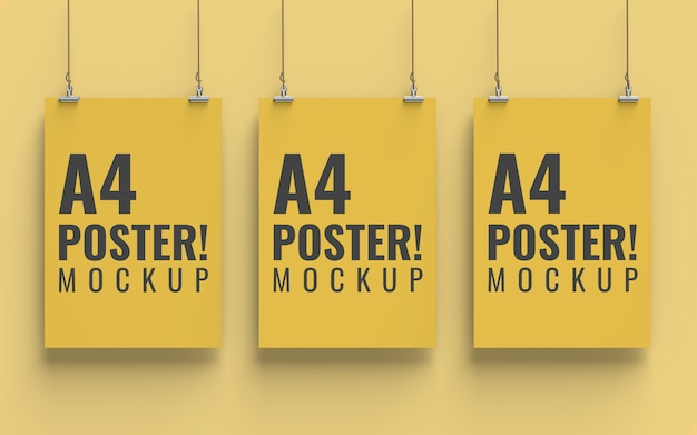 Poster mockup front view a4 size