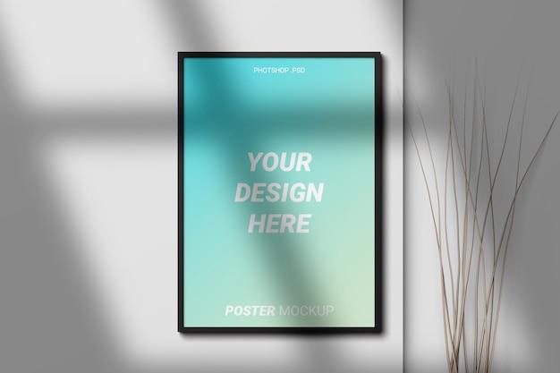 壁のポスターモックアップ正面図