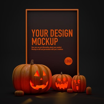 Poster mockup for halloween next to some pumpkins