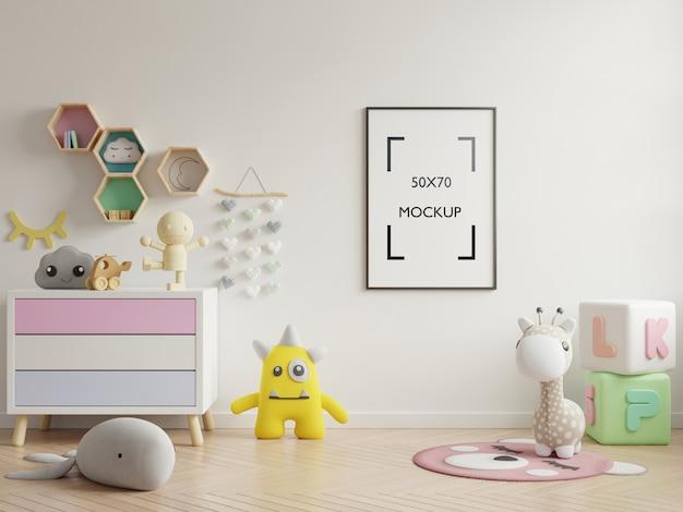 子供部屋のインテリアのポスターモックアップ