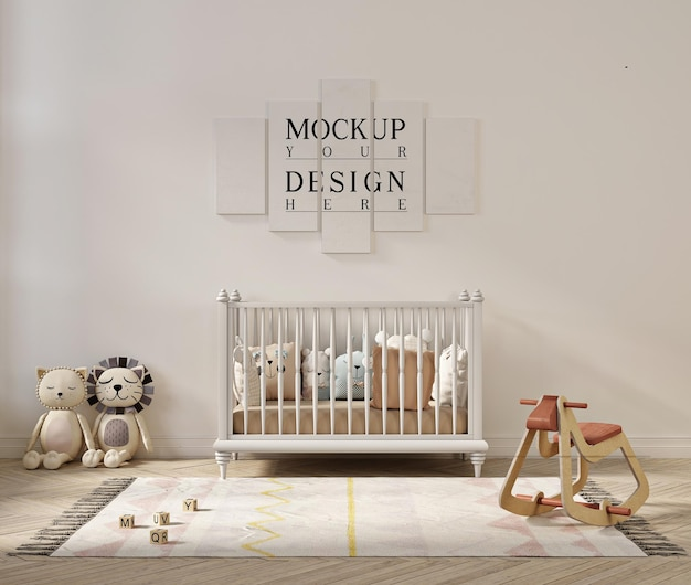 かわいい赤ちゃんの部屋のポスターモックアップ