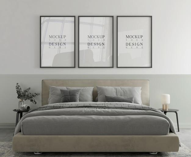 モダンな寝室の 3 d レンダリングのポスター モックアップ