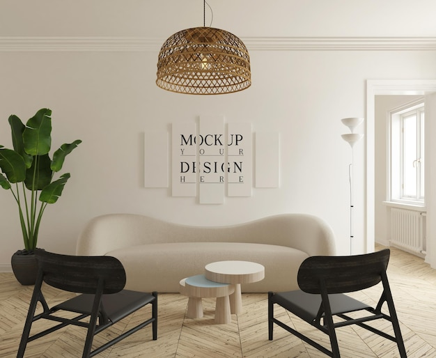 Макет плаката в современной гостиной