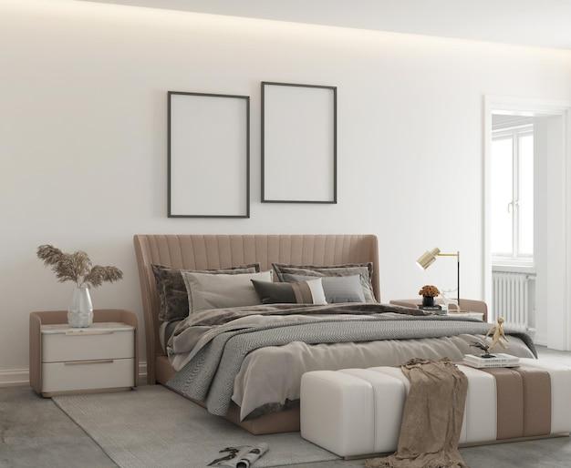 Макет плаката в современном минималистском дизайне спальни